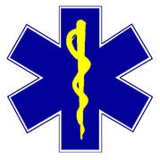 Aanduidingsticker EHBO Star of Life 90 x 90 mm.